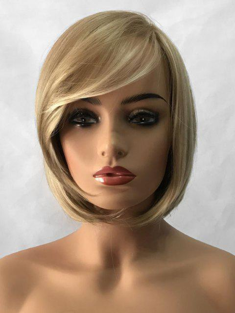 Short Side Bang Colormix Straight Bob Capless Synthetic Wig - multicolor B