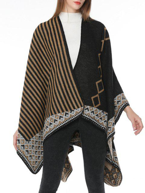 Stripe Rhombus Winter Oversized Scarf - CAMEL BROWN