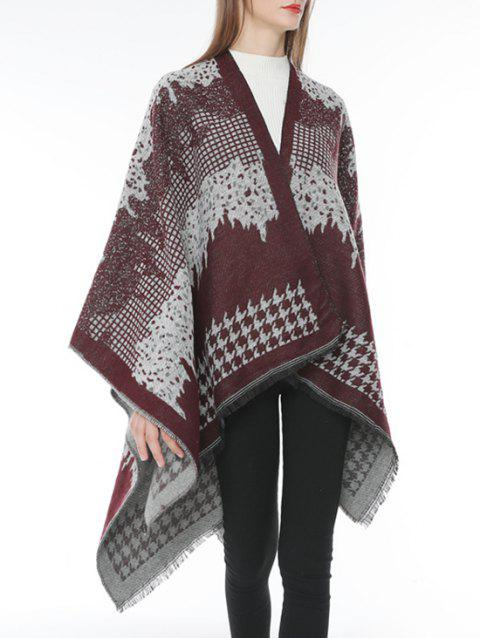Houndstooth Plaid Fringed Shawl Scarf - RED WINE