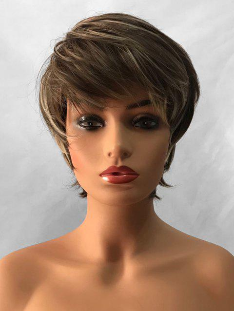 Inclined Bang Capless Straight Short Colormix Synthetic Wig - multicolor
