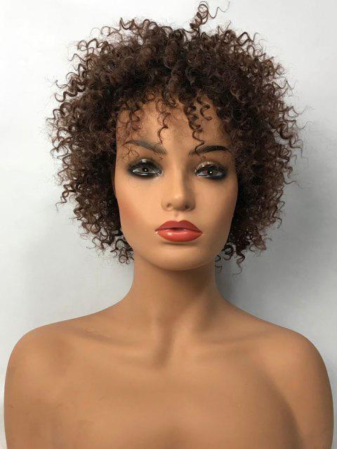 Inclined Bang Short Kinky Curly Synthetic Wig - BROWN