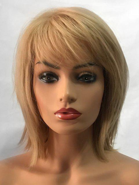 Inclined Fringe Short Straight Capless Synthetic Wig - GOLD
