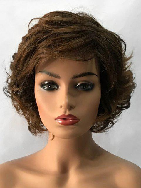 Inclined Bang Slightly Curly Short Tail Upwards Synthetic Wig - multicolor