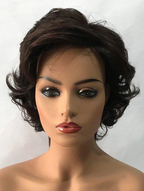 Inclined Bang Slightly Curly Short Tail Upwards Synthetic Wig - NATURAL BLACK