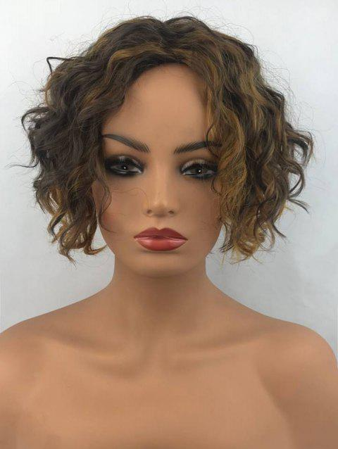Short Side Bang Colormix Wavy Synthetic Wig - multicolor