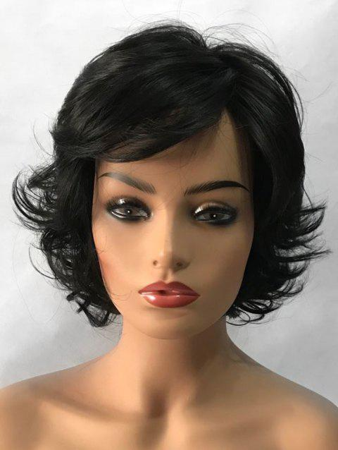 Inclined Bang Slightly Curly Short Tail Upwards Synthetic Wig - BLACK