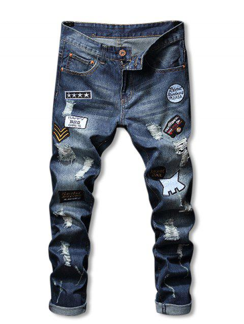 Letter Applique Zip Fly Ripped Jeans - BLUE 34
