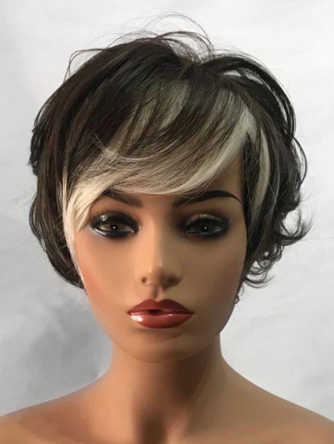 Short Colormix Side Bang Slightly Curly Synthetic Wig - multicolor