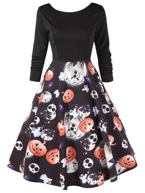 Halloween Skulls Pumpkins Print Vintage Dress - BLACK L