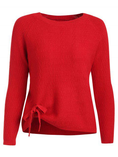 Bowknot Knit Plain Pull - Rouge Lave ONE SIZE