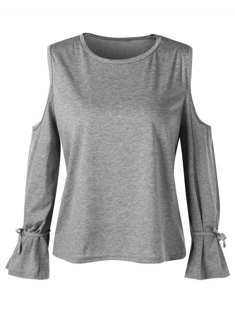 Tie Cuff Long Sleeve Cold Shoulder T-shirt - GRAY M