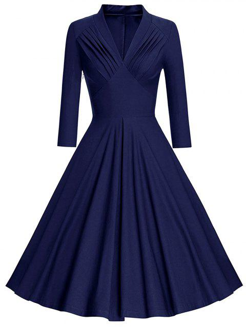 Plus Size Pleated Plunging Neck Vintage Dress - DEEP BLUE 2X
