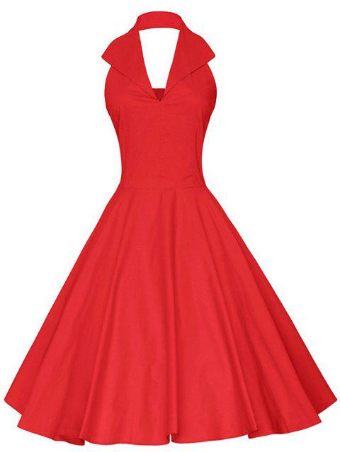 Plus Size Halter Open Back Vintage Dress - RED 4X