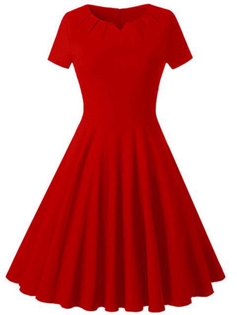 Plus Size Vintage Fit and Flare Dress - RED L