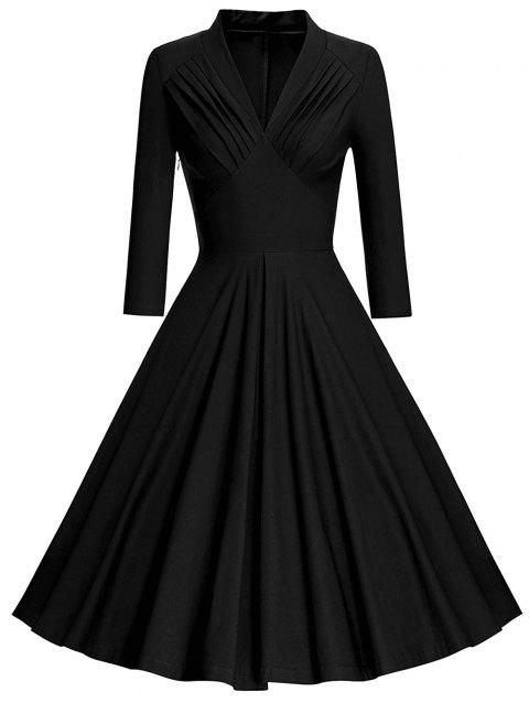 Plus Size Pleated Plunging Neck Vintage Dress - BLACK 4X