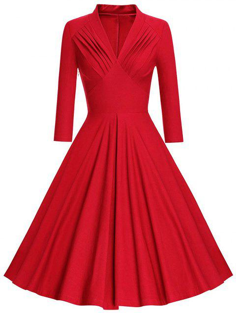 Plus Size Pleated Plunging Neck Vintage Dress - RED L