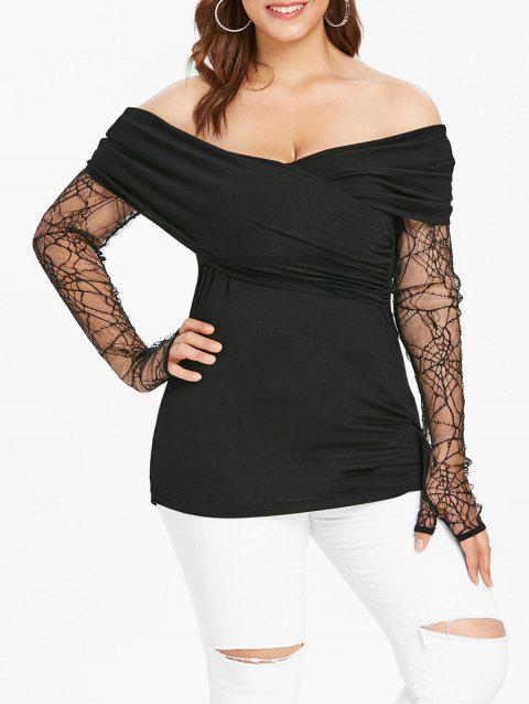 Plus Size Halloween Off The Shoulder Thumb Hole T-shirt - BLACK 1X