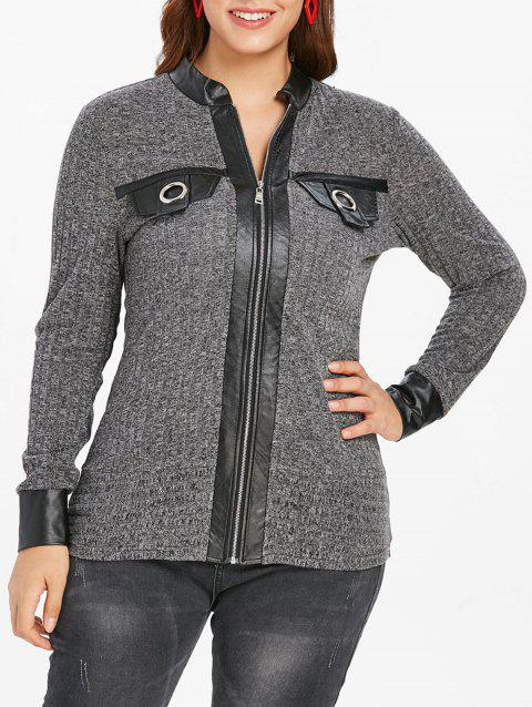 Plus Size Zip Fly Faux Leather Ribbed Cardigan - GRAY 2X