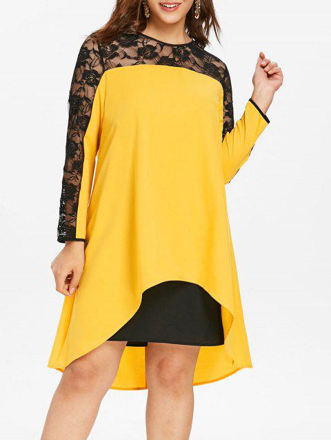 Plus Size Lace Insert High Low Straight Dress - YELLOW 1X
