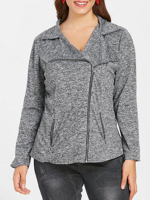 Plus Size Zip Fly Marled Jacket - GRAY L