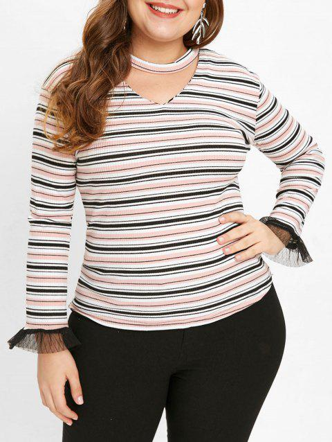 Plus Size Cut Out Striped Sweater - multicolor 2X