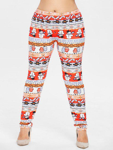Plus Size Christmas Snowman Leggings - multicolor 2X