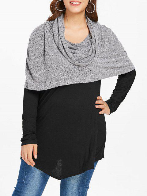 Plus Size Cowl Neck Splicing Longline Hooded Sweater - GRAY 1X