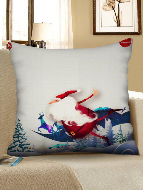Father Christmas Deer Printed Pillowcase - multicolor W18 X L18 INCH