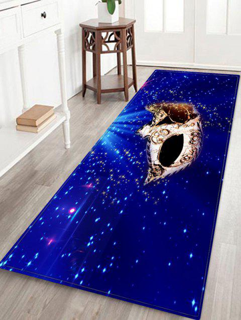 Christmas Party Mask Printed Non-slip Area Rug - DEEP BLUE W16 X L47 INCH