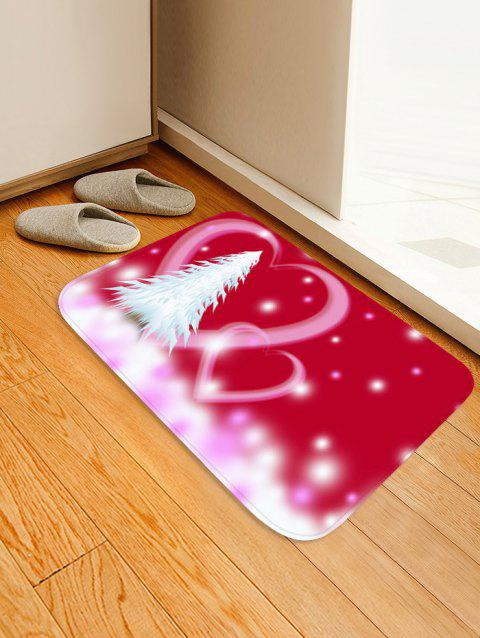 Christmas Tree Heart Printed Non-slip Area Rug - VALENTINE RED W16 X L24 INCH