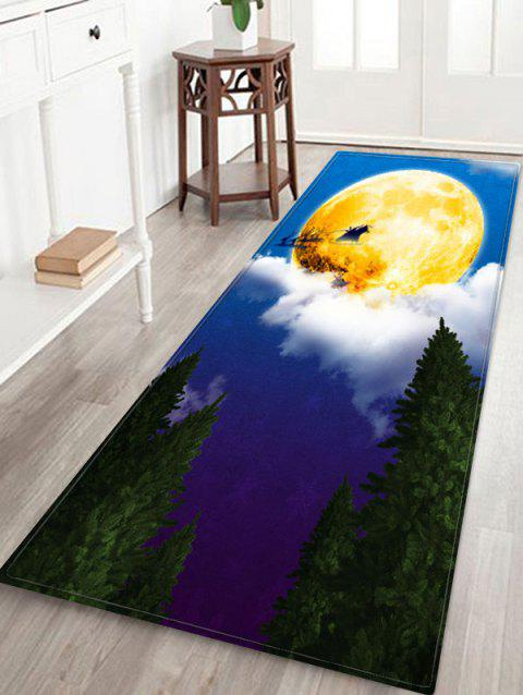 Christmas Sleigh Deer Printed Non-slip Area Rug - BLUEBERRY BLUE W24 X L71 INCH