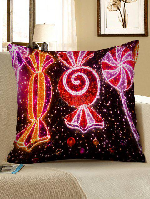 Christmas Candy Printed Pillowcase - multicolor W18 X L18 INCH
