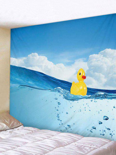 Ocean Duck Print Tapestry Wall Hanging Decoration - DEEP SKY BLUE W91 X L71 INCH