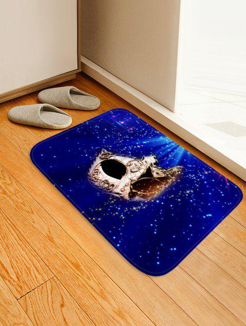 Christmas Party Mask Printed Non-slip Area Rug - DEEP BLUE W20 X L31.5 INCH