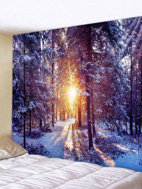 Sunlight Snow Forest Print Tapestry Wall Hanging Decoration - multicolor W59 X L59 INCH
