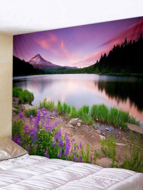 Sunset Lake Print Tapestry Wall Hanging Decoration - multicolor W79 X L71 INCH