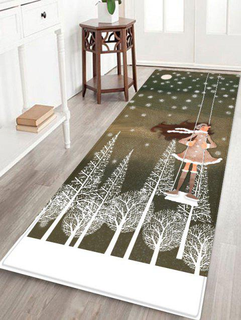 Christmas Snowflake Girl Printed Non-slip Area Rug - GRAY CLOUD W24 X L71 INCH