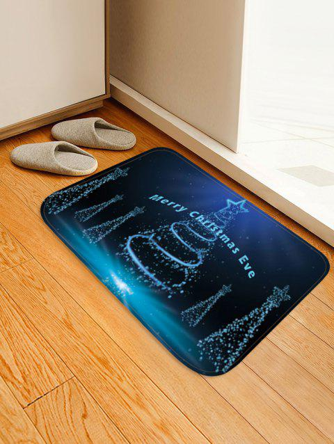 Merry Christmas Tree Printed Non-slip Area Rug - MIDNIGHT BLUE W16 X L24 INCH