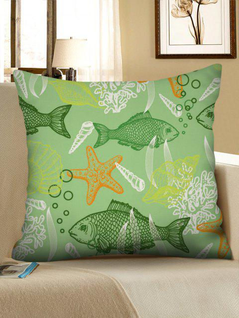 Fish Starfish Printed Pillowcase - multicolor W18 X L18 INCH
