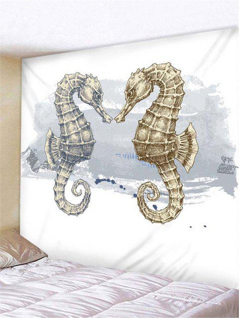 Sea Horse Print Tapestry Wall Hanging Decoration - WHITE W79 X L71 INCH