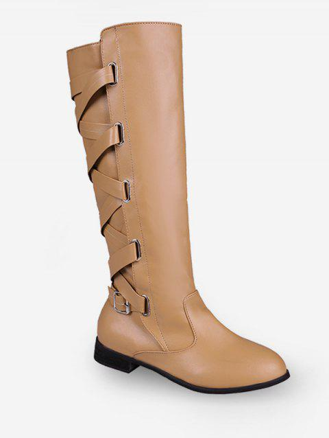 c2297c8bc5ad 2019 Lace Up Back Knee High Boots In LIGHT KHAKI EU 41