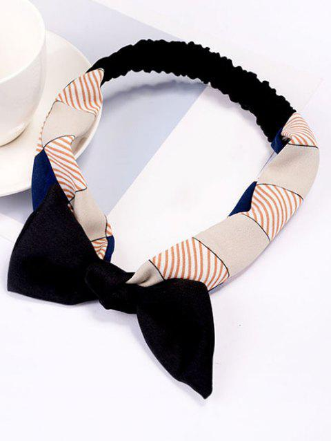 Bowknot Stripe Silky Elastic Hairband - BLACK