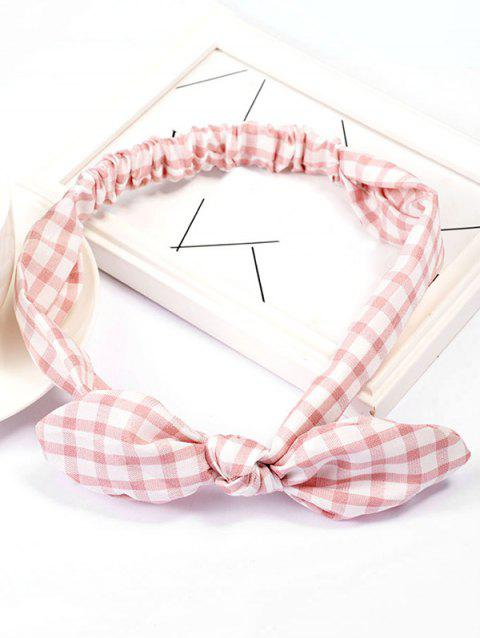Vintage Checked Pattern Bowknot Elastic Hairband - PINK