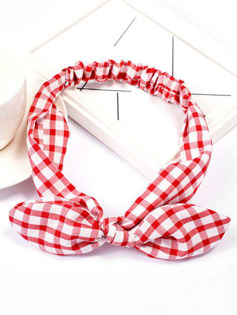 Vintage Checked Pattern Bowknot Elastic Hairband - RED