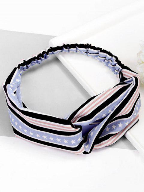 Stripe Star Pattern Elastic Hairband - PASTEL BLUE