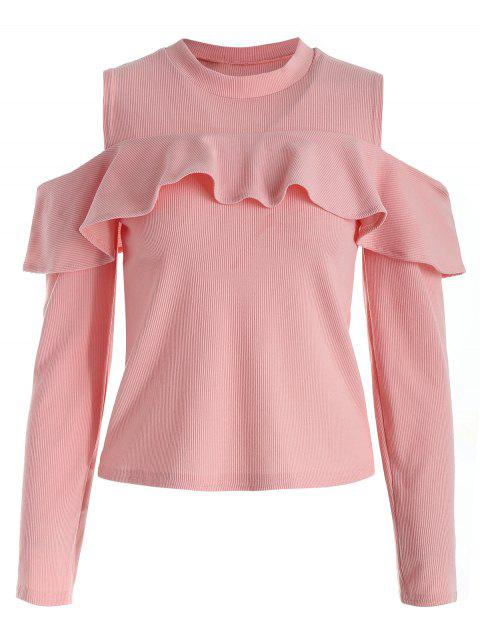 Ribbed Cutout Shoulder Ruffle Tee - PIG PINK L