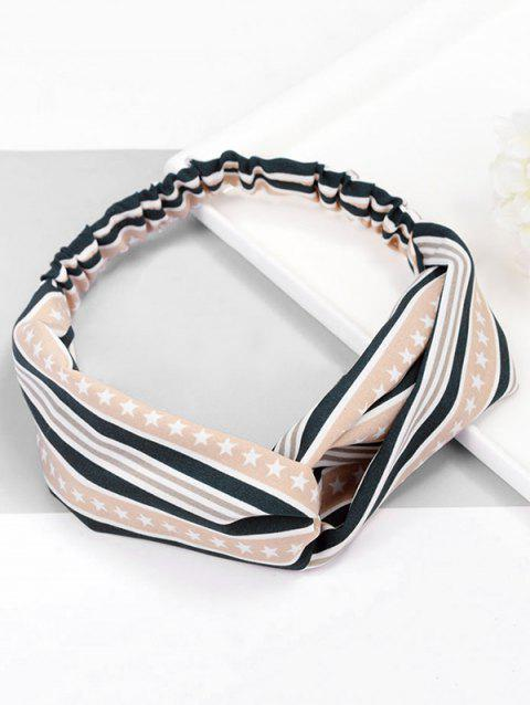 Stripe Star Pattern Elastic Hairband - LIGHT KHAKI
