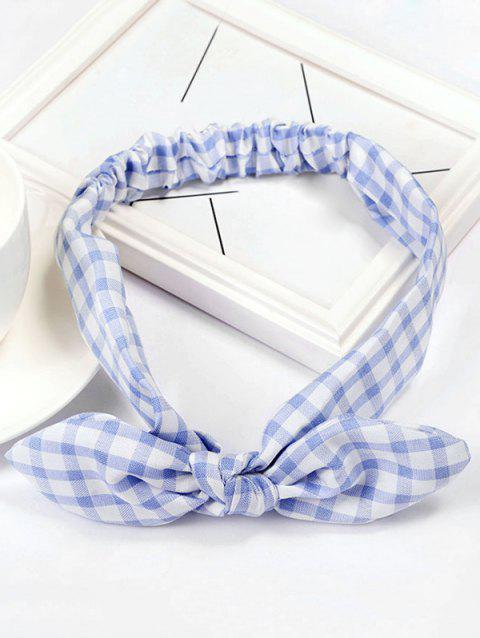 Vintage Checked Pattern Bowknot Elastic Hairband - CORNFLOWER BLUE