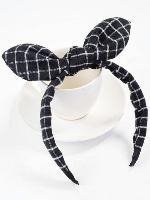 Checked Pattern Bowknot Hair Hoop - BLACK