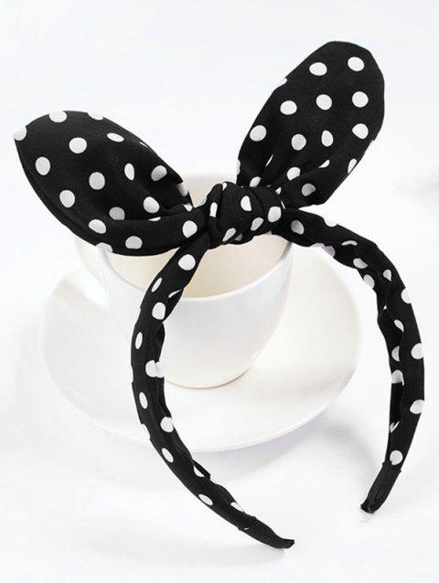 Polka Dot Bowknot Hair Hoop - BLACK